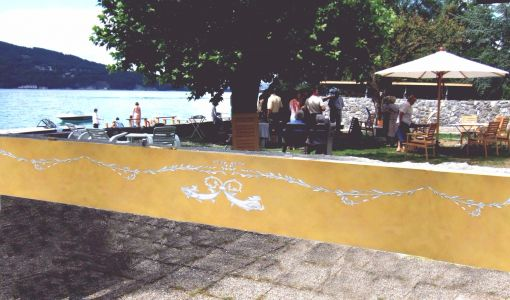 Monumental paintingfor a pontoon / Peinture Murale d'un ponton