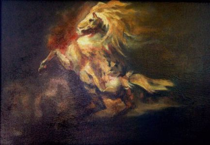 "Copy of Théodore Géricault  ""Grey Horse rearing"" / COPIE de Théodore Géricault ""Cheval Gris Se Cabrant"""